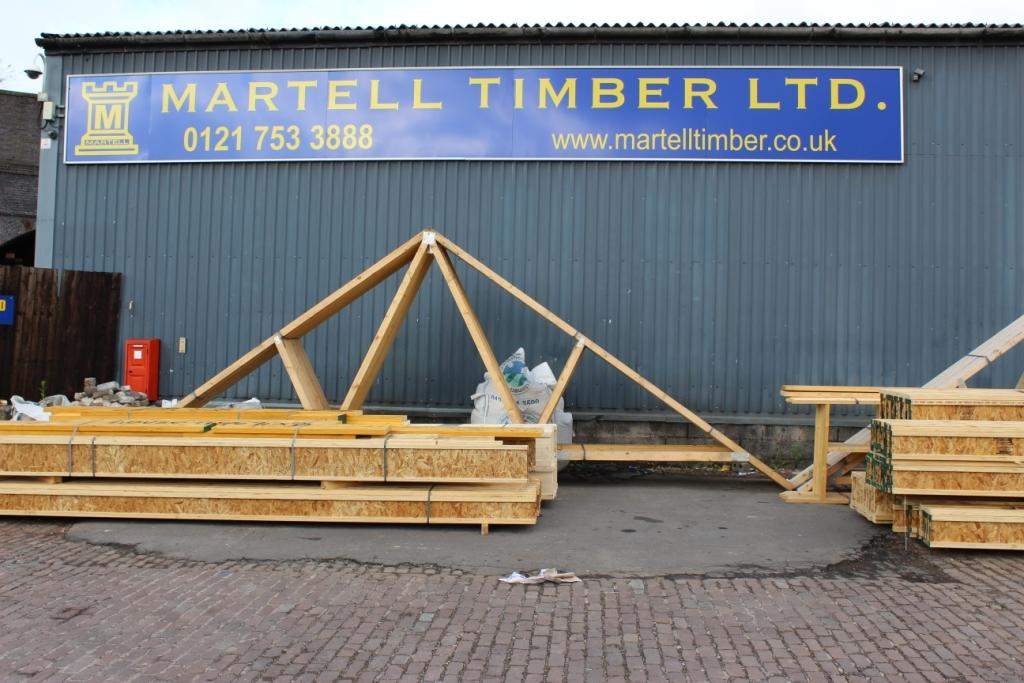 Roof trusses, I-beams and gable ladders.